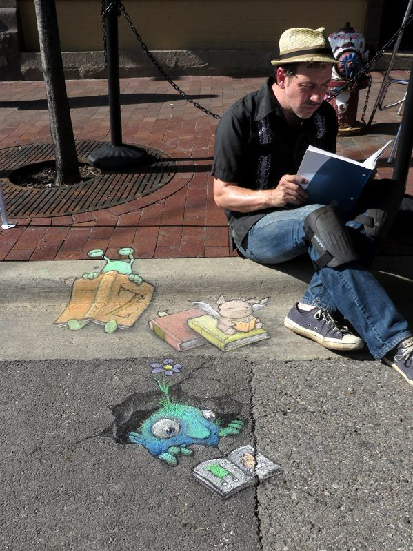 Chalk Artist David Zinn at The Arena Sportsbar - June 22, 2014 - Artist and his works!  Sluggo at the Ann Arbor Book Festival, where reading is fundamental, contagious, and soporific.