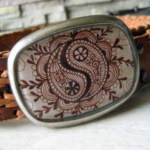 Yin Yang Henna Art Belt Buckle By Lonesome Road Studios | Accessories Say Everything | Pinterest ...