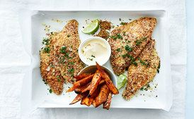 Skip the side mayo and this is a nice treat! A healthier take on fish and chips! Donna Hay- Quinoa Lime Chili Crumbed-Snapper Sweet Potato wedges / donna hay magazine, photography by William Meppem