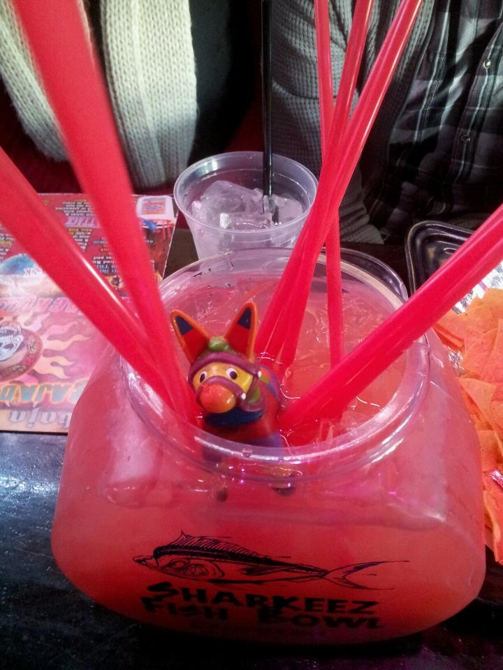Fishbowl w| Vodka, Red Bull, Peach Schnapps, cranberry juice and orange juice.
