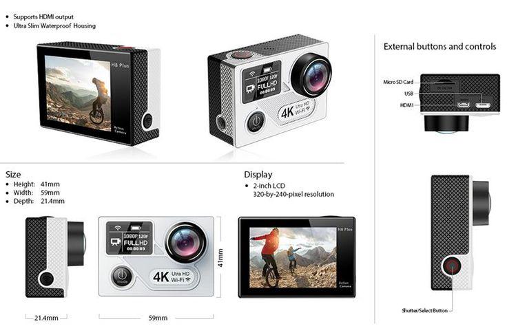 EKEN H8 Plus Action Camera 4K Ultra HD Dual Screen WiFi 2.4G Controller Sport DV