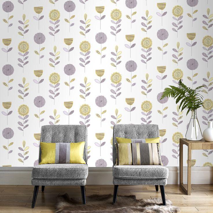 Wallpaper Inn Store - Fresco Flower Sketch Wallpaper, R499,95…