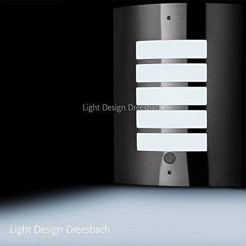 1er Set Edelstahl Wandleuchte Außenlampe Aussenleuchte mit Bewegungsmelder und LED COB 6Watt 580Lumen kaltweiß E27 - http://led-beleuchtung-lampen.de/1er-set-edelstahl-wandleuchte-aussenlampe-aussenleuchte-mit-bewegungsmelder-und-led-cob-6watt-580lumen-kaltweiss-e27/ #AußenleuchtenmitBewegungsmelder #LightDesignDreesbach, #WAL