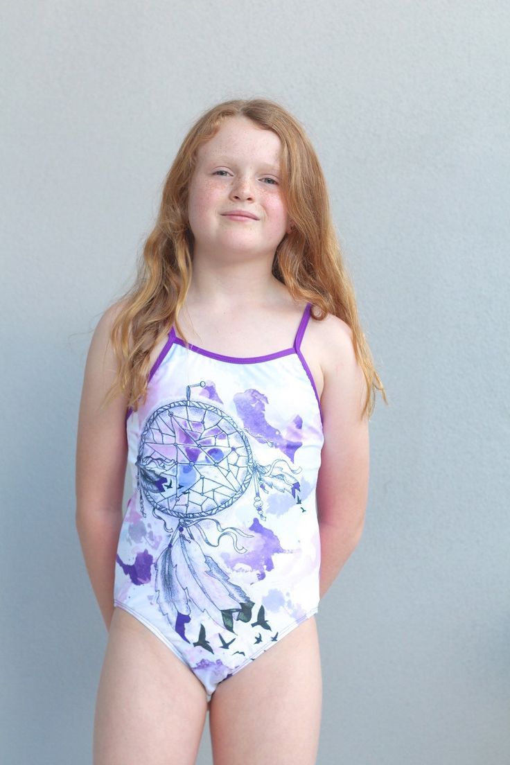 Girls Swimwear sublimated one piece featuring unique  watercolour dreamcatcher design. by LaLaLaDesigns on Etsy