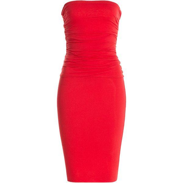 Velvet Strapless Stretch Cotton Draped Dress ($195) ❤ liked on ...