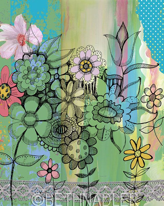 June Flower Garden Wall Art Collage Beach House by BethNadlerArt, $15.00