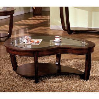 Furniture Of America Curve Dark Cherry Glass Top Coffee Table By Furniture Of America Sofa End