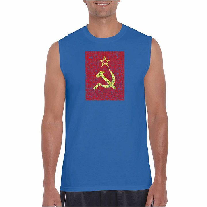 LOS ANGELES POP ART Los Angeles Pop Art Sleeveless Lyrics to the Soviet National Anthem Word Art T-Shirt