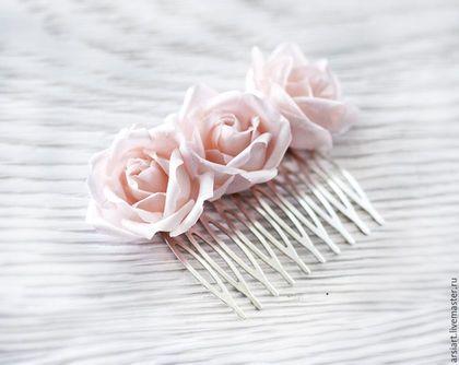 Свадебные украшения ручной работы. Ярмарка Мастеров - ручная работа. Купить 71_Розовый гребень, Гребень с шелковыми розами, Розовые цветы, Гребень. Handmade.