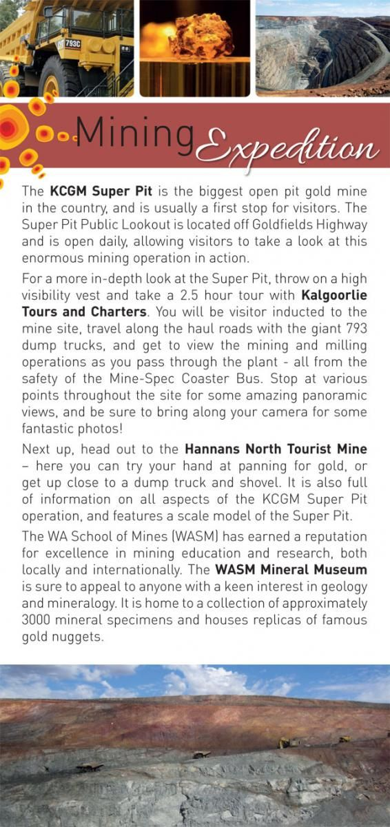 Mining Expedition | Kalgoorlie Boulder Tours Accommodation Information
