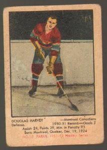 #10 Doug Harvey (1951-1952) - Parkhurst Products Ice Hockey card. New on http://colnect.com/sports_cards