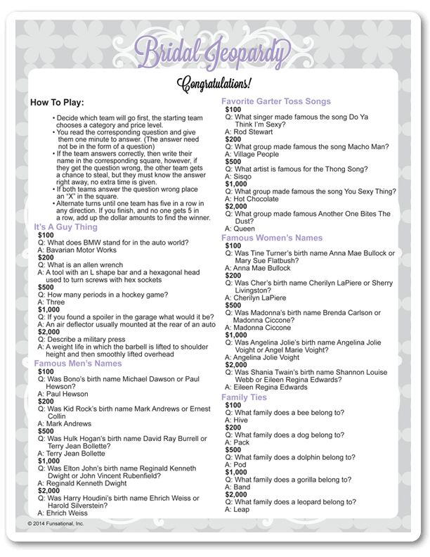 Printable Bridal Jeopardy                                                                                                                                                      More