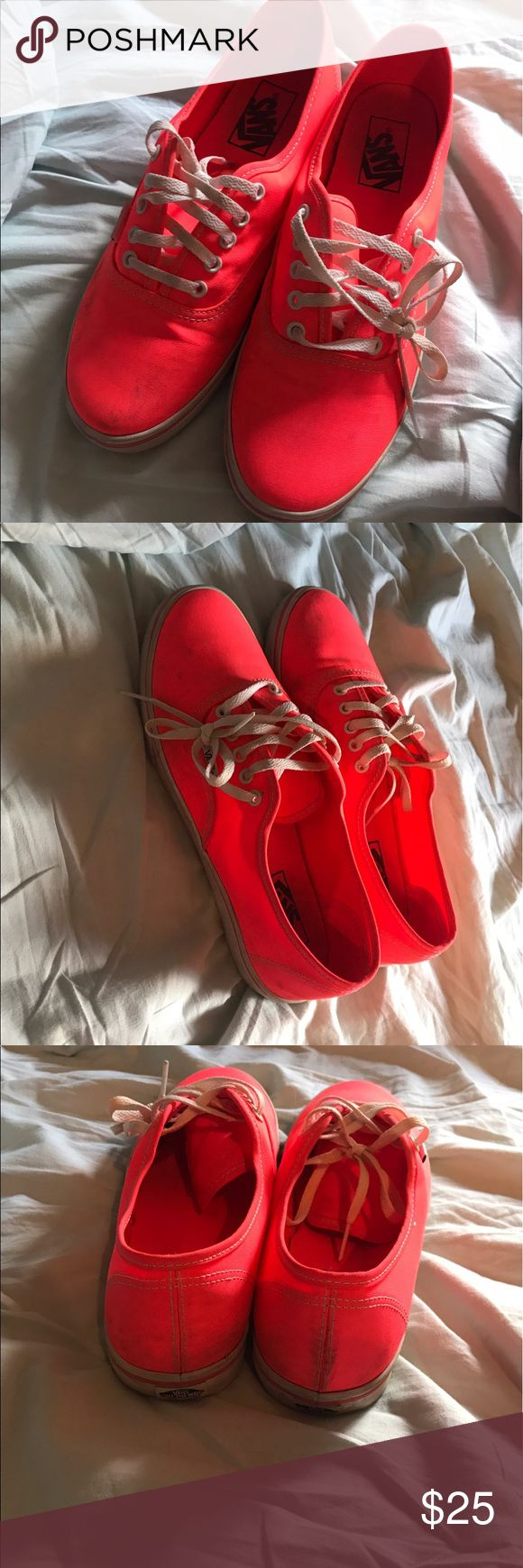 Coral Vans A little dirty but can easily be cleaned! In great condition. Have only been worn a couple of times 8.5 in women's Vans Shoes Flats & Loafers