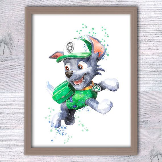 Rocky Paw Patrol watercolor print Paw Patrol character illustration, paw patrol wall art, paw patrol boys room wall art, cute puppy character perfect for any nursery.  ♥ ♥ ♥ This listing is for Rocky only, set is just an example!  ♥ The other characters from Paw Patrol you can see here https://www.etsy.com/shop/ColorfulPoster?ref=hdr&search_query=paw+patrol  ♥ Fantasy, Movie art prints: https://www.etsy.com/shop/ColorfulPoster?section_id=18526251&ref=shopsection_leftnav_2  ♥ SET of prints…