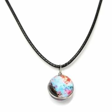 Double Sided Rope Galaxy Glass Ball Pendant Necklace