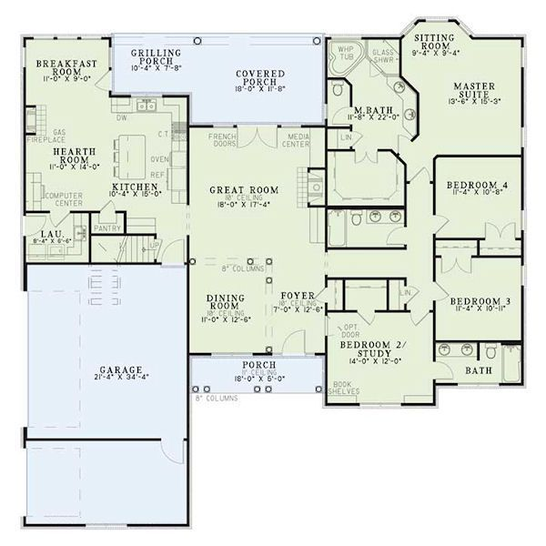 House Plan #17-2060  One floor living with the bedrooms all one side and the great room, kitchen and dining on the other. It is a traditional design that is popular.