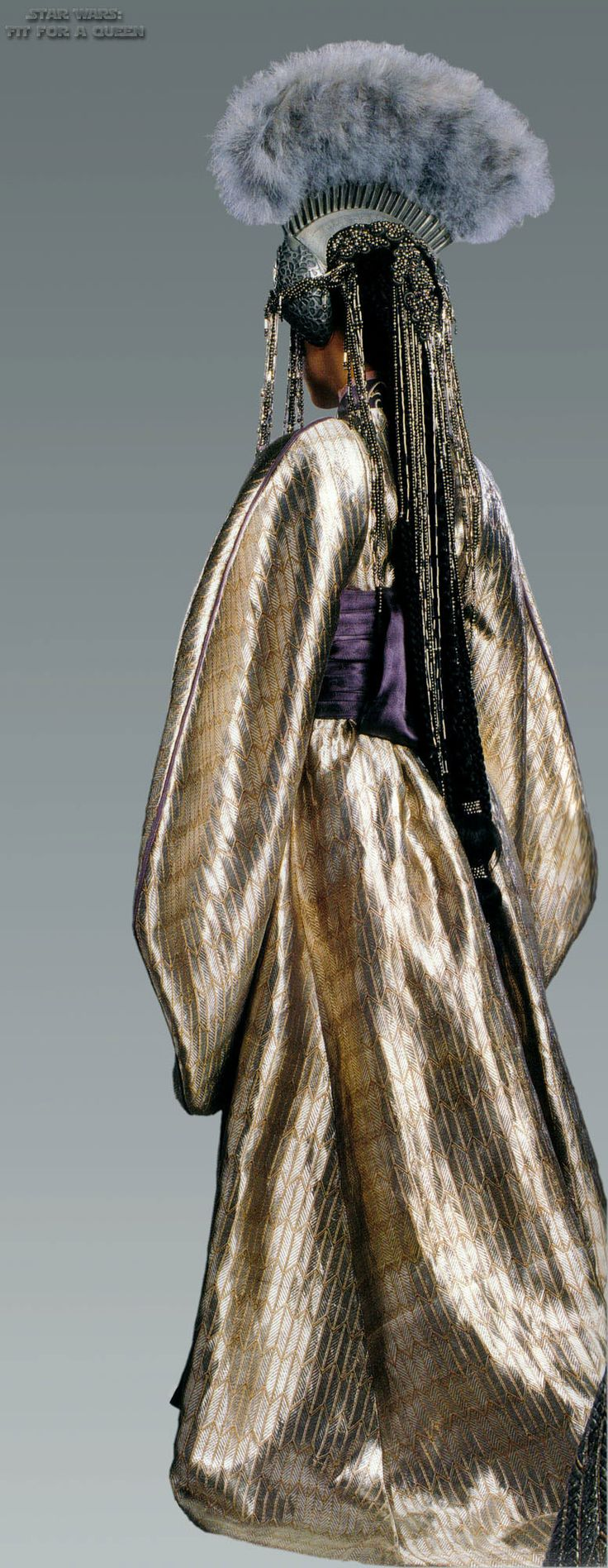 Star Wars Episode III. Queen Apailana, Morning gown. Back View. Worn during Padme Amidala's funeral.