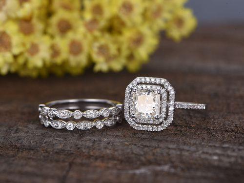 1 Carat Asscher Cut Moissanite Engagement Ring Set Diamond Wedding Band 14k White Gold Double Halo