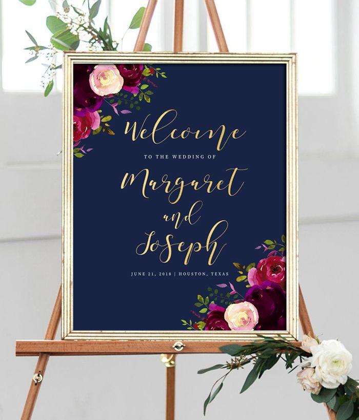 Editable Wedding Welcome Sign Template Navy Marsala Burgundy Gold
