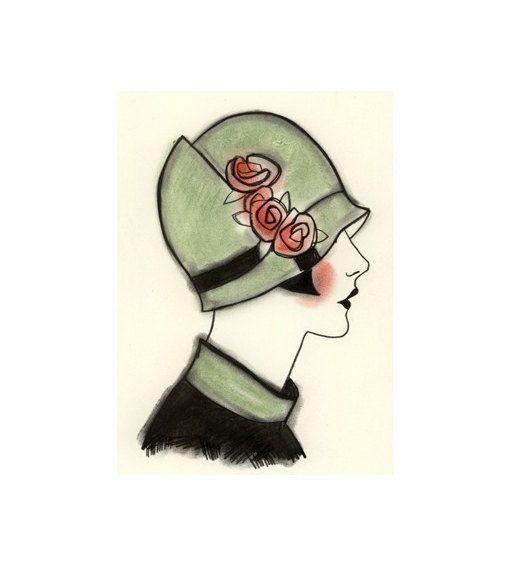 Art Deco print  art print . Art Deco Millie 8.3 door matouenpeluche