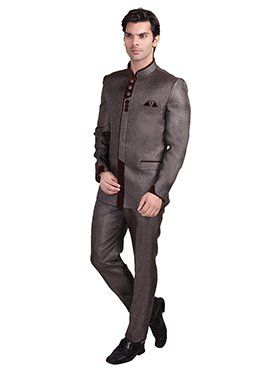Light Brown Rayon Bandhgala Suit