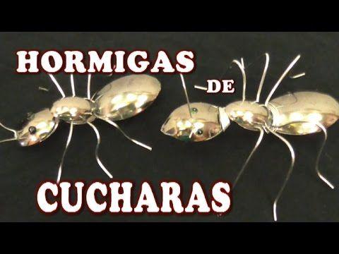 Como hacer hormigas decorativas con cucharas plasticas - ANTS MADE WITH PLASTIC SPOONS - YouTube