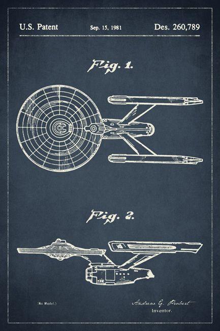 Star Trek Starship Enterprise Patent Art Poster Print - Keep Calm Collection
