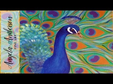 239 best angela anderson images on pinterest acrylic for Easy peacock paintings