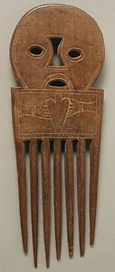 CARVED WOODEN AFRICAN HANDMADE FACE FIGURE ASHANTI HAIR PICK COMB GHANA ETHNIX