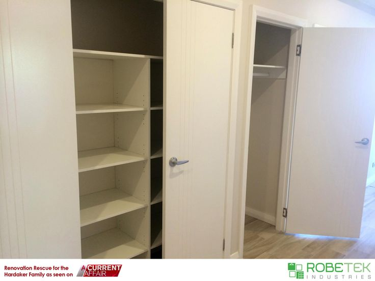 HARDAKER FAMILY'S NEW LINEN CUPBOARD DONATED BY ROBETEK INDUSTRIES. Renovation Rescue for the Hardaker family as seen on A Current Affair. Call 02 9608 8899 for FREE MEASURE & QUOTE (Sydney metro area)