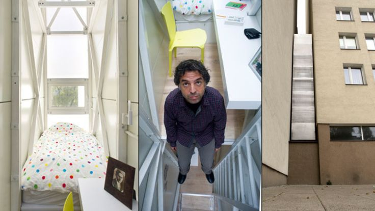 "Dom Kereta house ""In the crack between the buildings on 22 Chłodna St. and 74 Żelazna St., Jakub Szczęsny designed an art installation entitled Etgar Keret's House, which shall become the narrowest house in Warsaw, since its interior will come to 133 centimeters in the widest spot."""