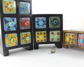 Vintage Jewelry Cabinet made of wooden body and Ceramic drawers painted with Multi-color floral design.