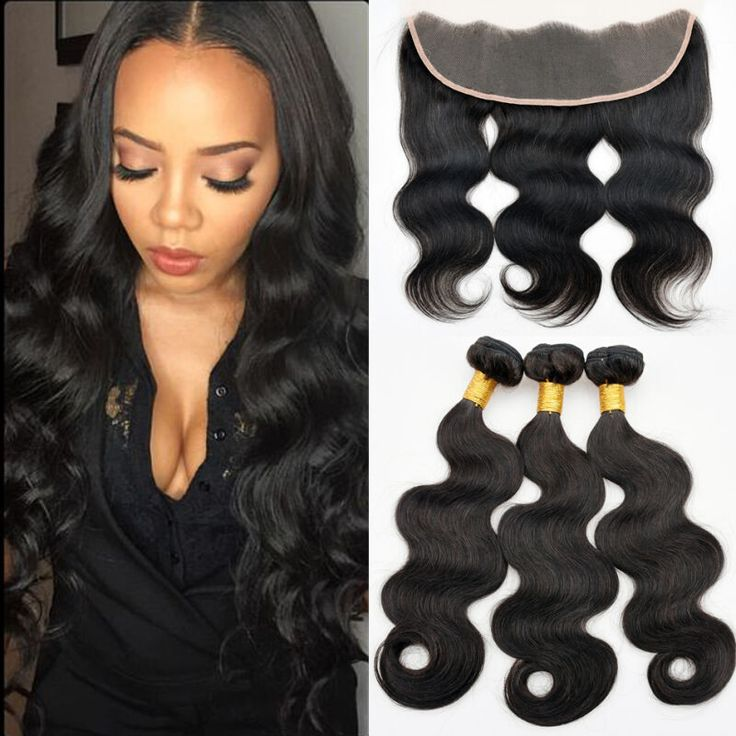 7A Brazilian Hair Weave Bundles With Lace Frontal Closure Brazillian Virgin Hair Body Wave 13X4 Lace Frontals with Baby Hair