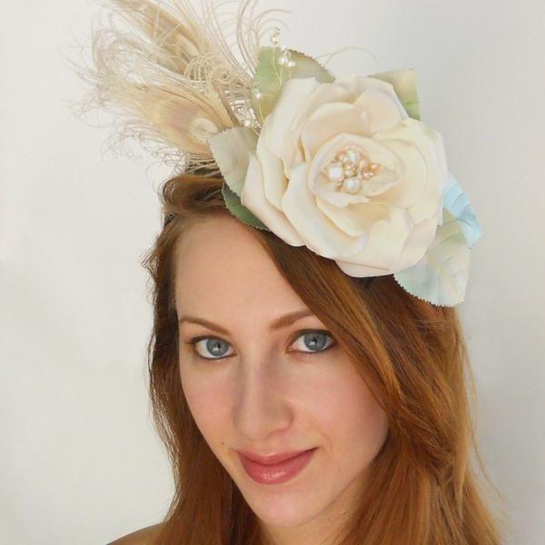 Blush Pearl Rose Fascinator Headband