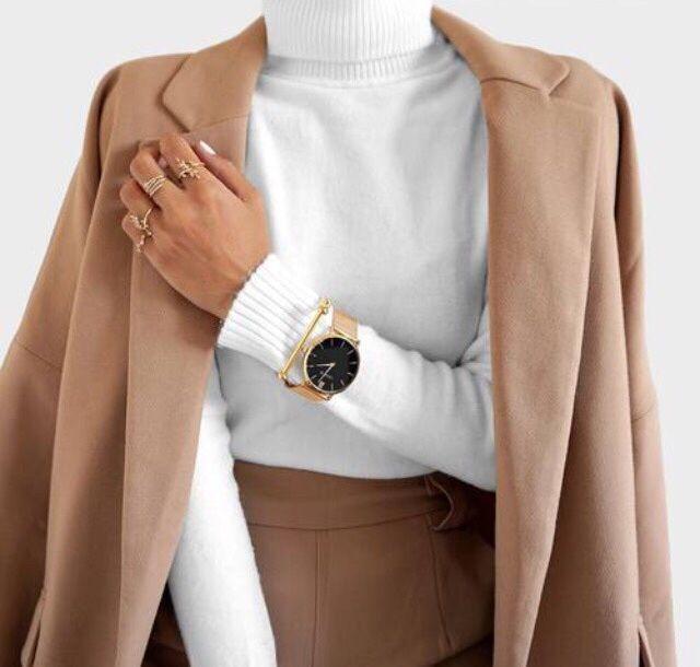 Do karmelowych  stylizacji świetnie pasuje złoty zegarek! #watch #gold #otd #forher #fashion #freetime #butikiswiss