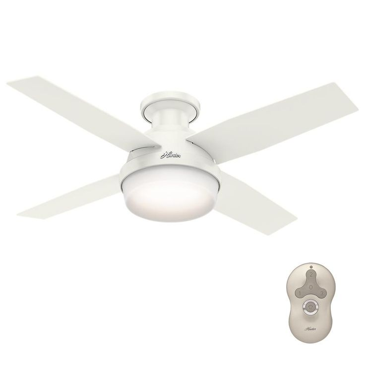 Hunter Dempsey 44 in. Low Profile LED Indoor Fresh White Ceiling Fan with Universal Remote