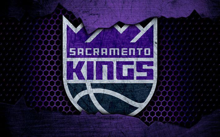 Download wallpapers Sacramento Kings, 4k, logo, NBA, basketball, Western Conference, USA, grunge, metal texture, Northwest Division