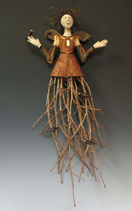 Akira Blount, master dollmaker - her work intrigues me.  Love the combination of materials and the creative way she uses them