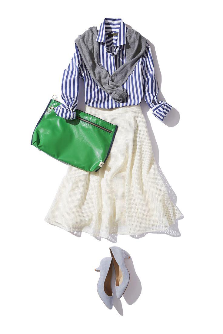 旬のミディ丈スカートは、シンプル αでこなれて見える! ― B