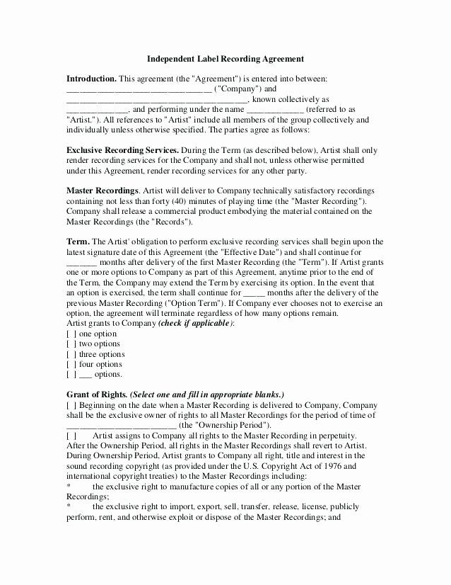 Sample Record Label Contract In 2020 Contract Template Labels