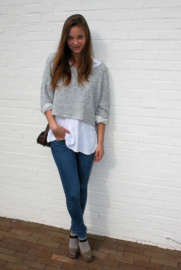 .I like the layered tops but the pants look too tight and definitely not digging the shoes