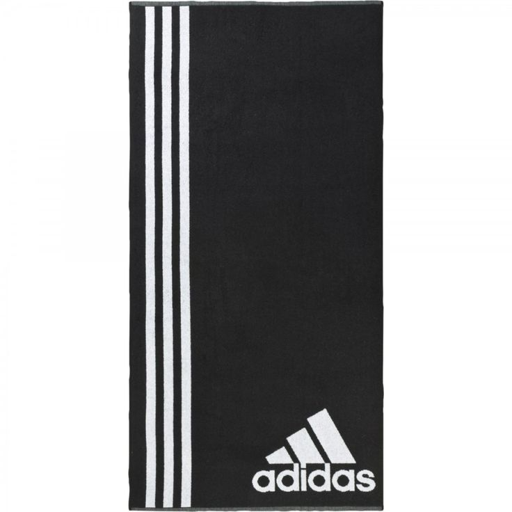 Adidas μαύρη πετσέτα με άσπρες ρίγες