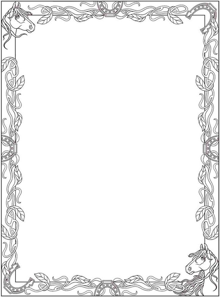 Dover Creative Haven Horse Frame Coloring Page 1 A