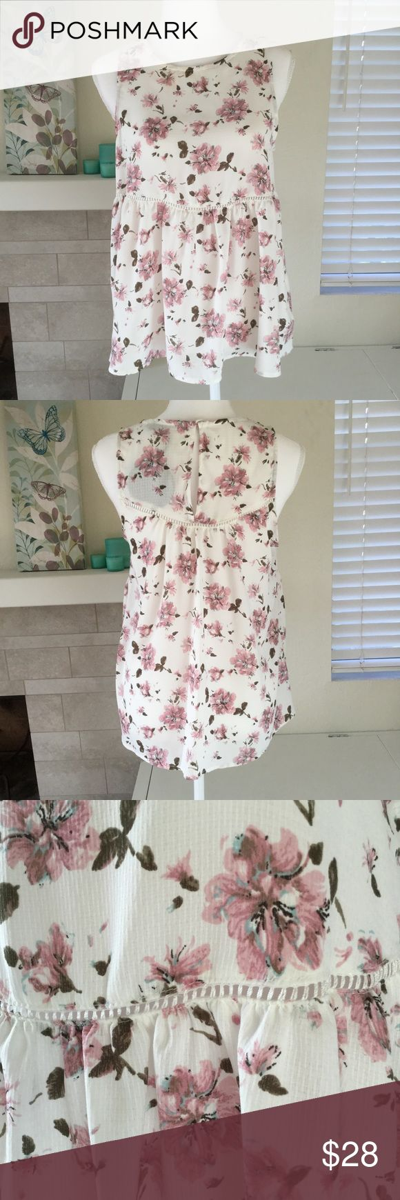 "🆕 NWT floral peplum blouse Girly peplum floral blouse ready to take on the town!  🐾 White base with pink flowers and brown leaves 🐾 Scoop neck 🐾 Narrow open band at waist 🐾 Keyhole with button closure at back neck 🐾 Sleeveless 🐾 Bust: 18"" 🐾 Length: 25 1/2"" 🐾 100% polyester 🐾 Hand wash, lay flat to dry 🐾 NWT 🐾 Some minor discoloration at front neck (see fourth picture)  🐾 Bundle discount 🐾 No trades, no PP 🐾 Smoke free, pet friendly home Harlowe & Graham Tops Blouses"