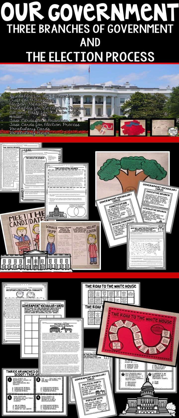 This Government Unit has everything you need to teach the Three Branches of Government and the Election Process.  Packed with comprehension passages, questions, task cards, bingo, vocabulary, and much more.