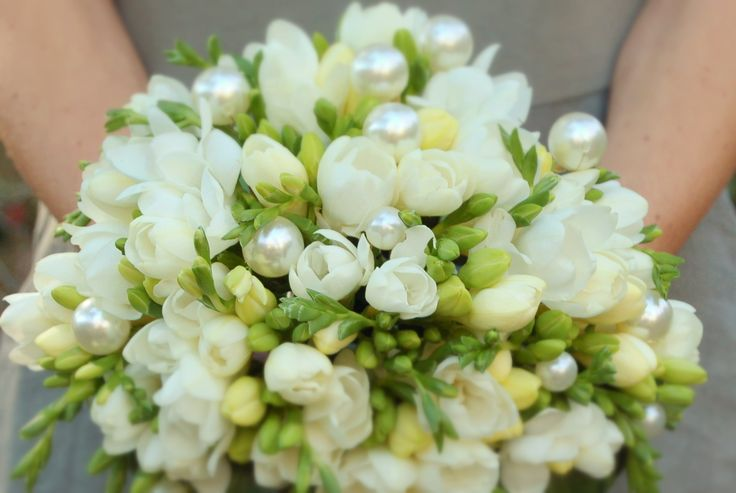 All white Fresia Bouquet