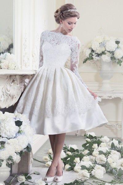 Tea Length Perfection - Darling Retro Wedding Dresses - Photos