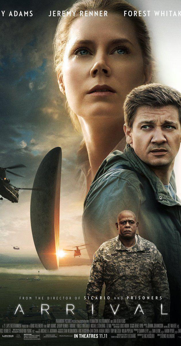 Directed by Denis Villeneuve.  With Amy Adams, Jeremy Renner, Forest Whitaker, Michael Stuhlbarg. A linguist is recruited by the military to assist in translating alien communications.