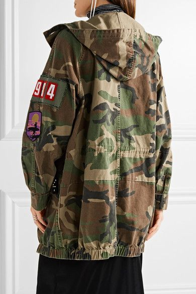 Marc Jacobs - Oversized Embellished Camouflage-print Cotton-canvas Jacket - Green - x small