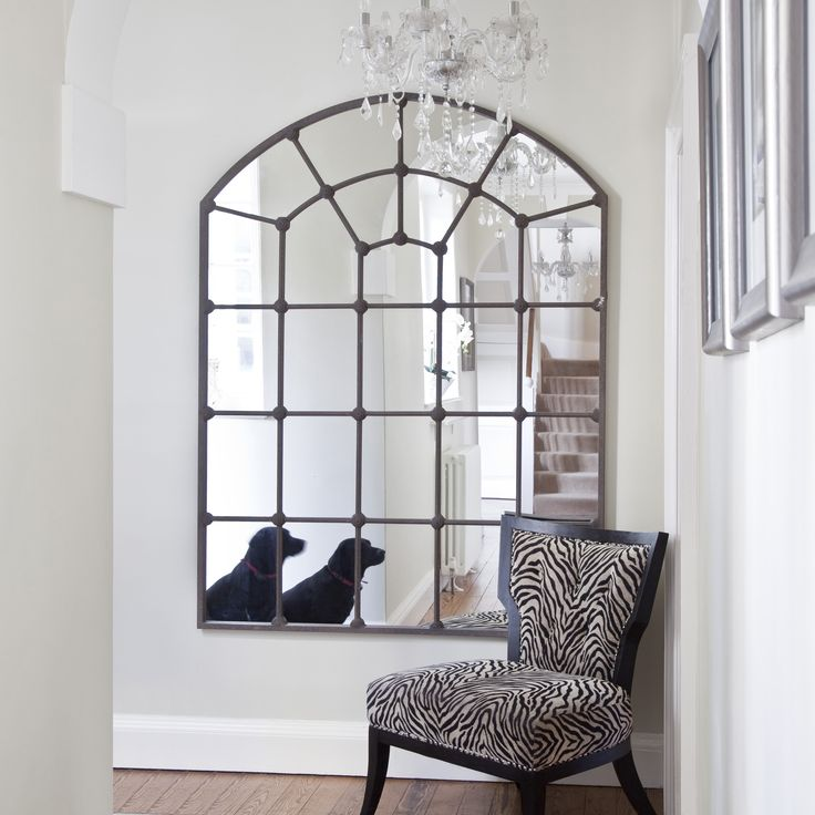 Totally love this for our new hallway.  Large Metal Framed Window Mirror